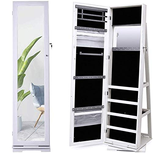 N \ A Jewelry Armoire Cabinet, Solid Wood Standing Mirror Makeup Lockable Armoire Jewelry Organizer Jewelry Armoire with Mirror 360 Rotating Mirrored Jewelry Cabinet Armoire Mirror, white