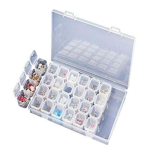 SJZERO Caja de almacenamiento de arte de uñas 28 ranuras joyería transparente cuentas de pintura de diamante accesorios contenedor de exhibición de herramientas de arte de uñas