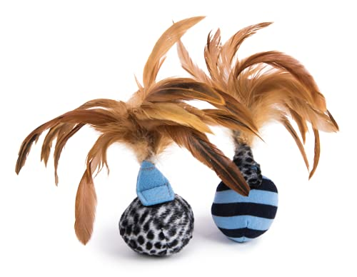 Petlinks Feather Flips Cat Toy Feathery Plush Balls, 2 Pack