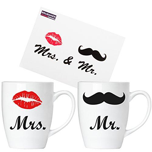 Brubaker Mr. & Mrs. Tassen Set Kaffeetassen aus Keramik - 2 Kaffeebecher 300 ml - Hochzeitsgeschenk mit Grußkarte und Geschenkpackung
