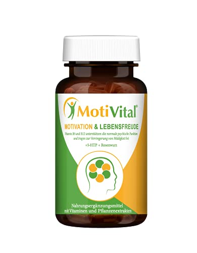 MOTIVITAL® Motivation & Lebensfreude - Serotonin & Dopamin Booster mit 5-HTP hochdosiert - Natürlicher Stimmungsaufheller hochdosiert   60 vegane Kapseln in Apothekenqualität - Made in Germany