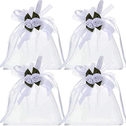 100 Bolsas de Regalo de Organza con Rosa Blanca Bolsas de Joyería Bolsas de Caramelos Cosméticos, Bolsas de Boda, Bolsa de Tratamiento con Cordón de Seda para Navidad (4 x 4,72 Pulgadas)