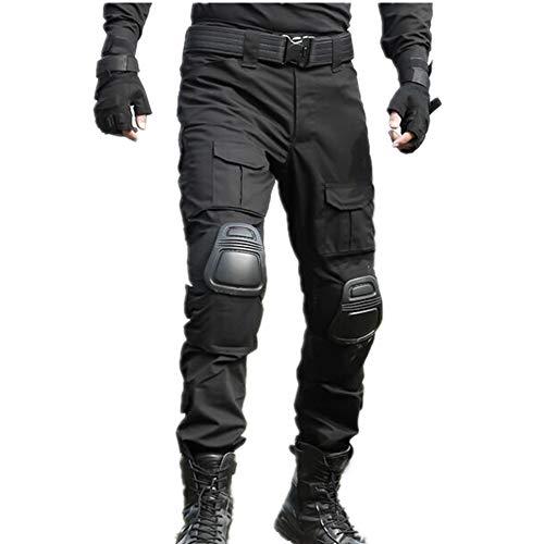 FOJMAI Heren Airsoft Broek Paintball BDU Ripstop Broek Multi-pocket Combat Tactische Broek met kniebeschermers (XXL (38), zwart)