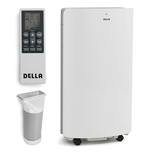 DELLA 14000 BTU Portable Air Conditioner Unit 11000 BTU Heater, Cool Fan Quiet Dehumidifier Rooms Up to 700 Sq.Ft. LED Display - Self evaporation System - Remote Control, White