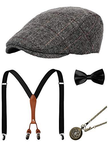 Zivyes 1920s Herren Accessoires Gatsby Gangster Kostüm Zubehör Set Manhattan Fedora Hut Hosenträger Fliege Taschenuhr (7-Grey)