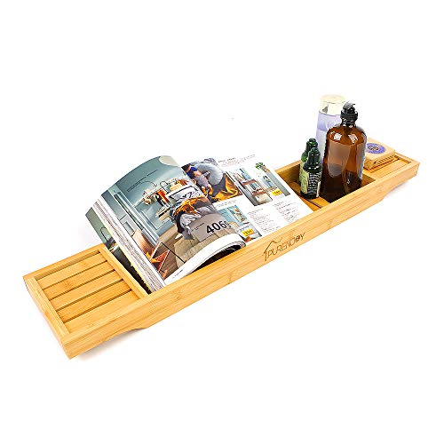 PURENJOY bambú para bañera, organizadores de baño, tabla para bañera, para todos los accesorios de baño(original) 🔥