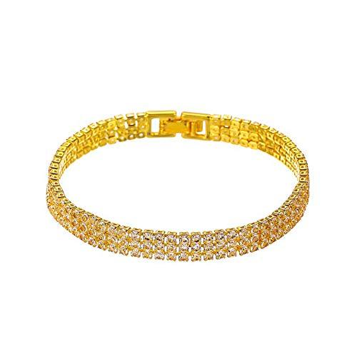 YUANMAO Pulsera de diamantes de imitación, pulsera de 3 filas para mujeres y niñas de oro