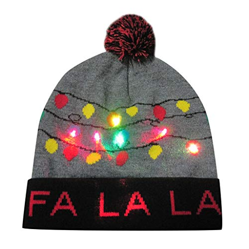 Weihnachten Strickmütze Piebo LED Leuchten Mütze Stricken LED Hut Winter Schnee Hut Beanie Cap für Männer Frauen Indoor und Outdoor Festival Feiertag Feier Parteien Bar (Hat-D, 22x22cm)