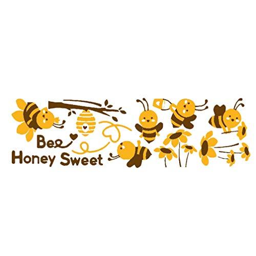 Garneck Vliegende Bijen Muursticker Cartoon Honing Zoete Bijen Muur Arts Sticker Achtergrond Behang Schil en Stok Voor de Kleuterschool Babykamer Slaapkamer Decoratie