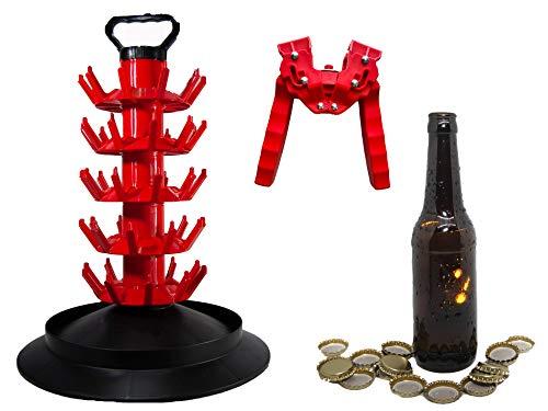 Set Completo de Accesorios para la Fabricación de Cerveza Artesana (16 Botellines 33cl, 100 chapas, Chapadora Doble Palanca, Escurridor/Secador con capacidad de 50 botellas cerveza)