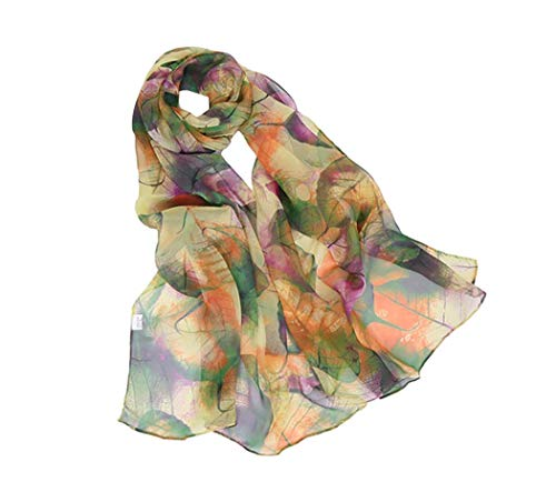 Scarfs for Women Lightweight Print Floral Pattern Scarf Shawl Fashion Scarves Sunscreen Shawls, Leaves&green, 160*50CM