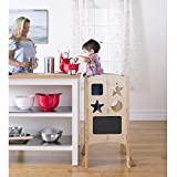 Guidecraft Classic Kitchen Helper Stool - Natural: Adjustable Height, Folding Step Stool for Little Kids, Toddler Safety Cooking Tower with Write-on Wipe-Off Message Boards. Learning Furniture