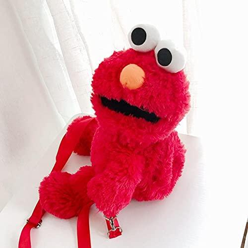 Bolsa De Juguetes De Barrio Sésamo Mochila De Felpa De Elmo Rojo Peluches 22/15 Cm, Juguetes Blandos para Niños Y Niñas, Cumpleaños, Navidad