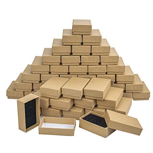 Lawei 50 Cajas cartón marrón Joyas Tapas Collares