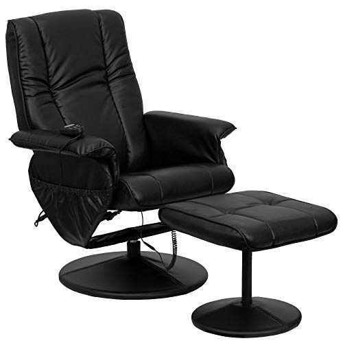 Flash Furniture Massaging Heat Controlled Adjustable Recliner and Ottoman with Wrapped Base in Black LeatherSoft