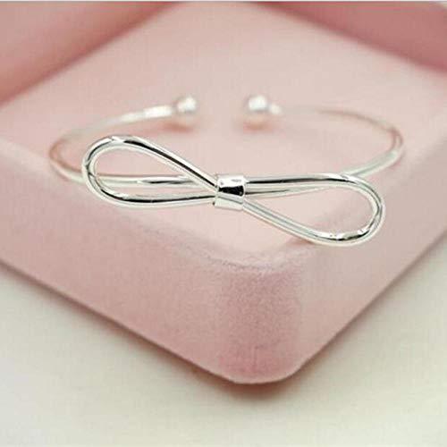 IKDBMUE Pulsera de joyería de Plata esterlina 925 Pulseras de Regalo de Novia con Lazo Abierto de Moda Femenina Simple
