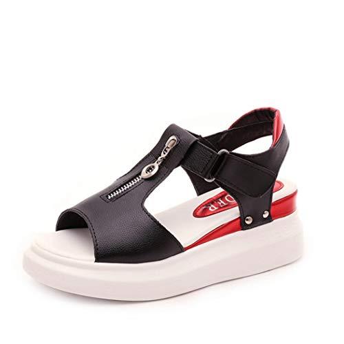 Sandalias de cuña de Verano para Mujer Zapatos de tacón con Cremallera Abierta de Punta Abierta Bombas Plataforma cómoda Zapatos de Muffin Casuales 35-40