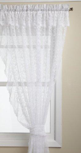 LORRAINE HOME FASHIONS Priscilla 130-inch x 63-inch Ruffled Pair, White
