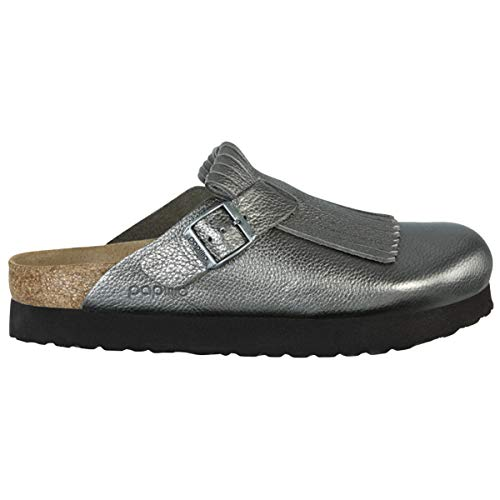 Papillio Unisex Boston Fringe Metallic Leather Anthracite Sandals 6 W / 4 M US