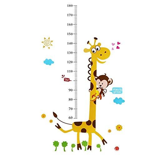 Scimmia arrampicata su adesivo a parete la crescita della giraffa misura i bambini deca...