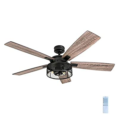 "Honeywell Ceiling Fans 50614-01 Carnegie LED Ceiling Fan 52"", Indoor, Rustic Barnwood Blades, Industrial Cage Light, Matte Black by Honeywell Ceiling Fans"