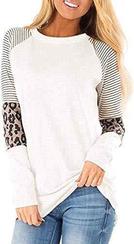 Mujer Casual Suelto Jersey Suéter Pullover Camiseta a Rayas Sudadera con Manga Larga Jerséis T-Shirt tee Túnica Tops Blanco M