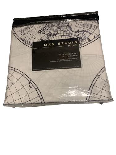 Max Studio Old World Map Globe Atlas Sheet Set (Queen)