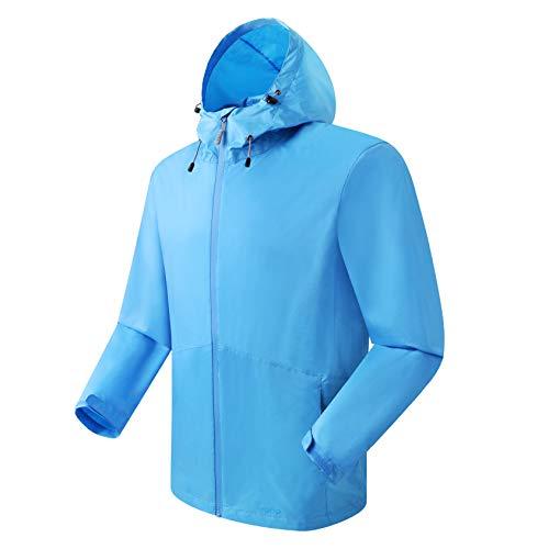 Eono Essentials giacca antipoggia da uomo, celeste, M giacca impermeabile