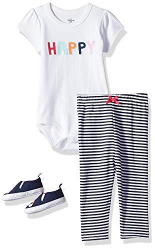Little Treasure Unisex Baby Cotton Bodysuit, Pant and Shoe Set, Happy, 6-9 Months