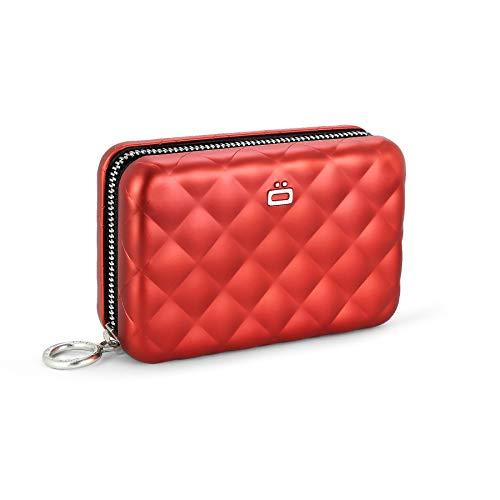 Ögon Smart Wallets - Cartera Mujer de Aluminio Quilted Zipper - Tarjetero RFID antirrobo - Capacidad 24 Tarjetas, Monedas y Billetes - Rojo