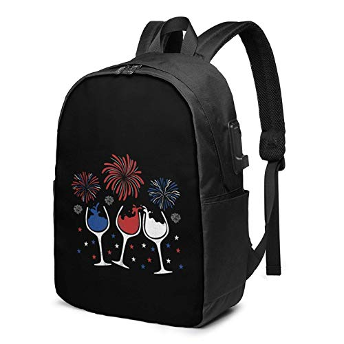 Lsjuee Red White and Blue Funny Wine Glass for 4th of July Travel Laptop Backpack with USB Charging Port for Women Men School College Students Backpack Fits 17 Inch Laptop