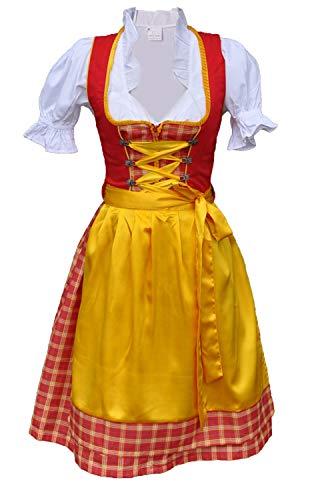 Dirndl Trachtenkleid Minidirndl mit Bluse 3 TLG. Set Rot Gelb (38)