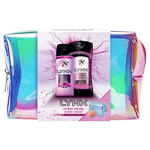 Lynx Attract For Her Kulturbeutel Geschenkset, ideal für Mädchen und Jugendliche, Duopack Duschgel und Deodorant Körperspray, inklusive Duschschwamm