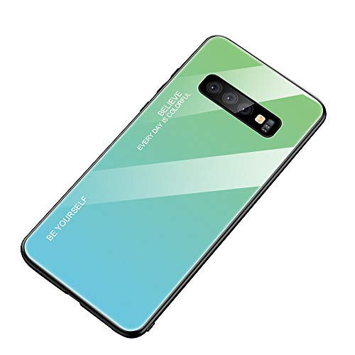 AIsoar Compatible with Galaxy S10 Plus Colored Gradient Tempered Glass Case,Tempered Glass Back Cover + Soft TPU Bumper Frame Shockproof Anti-Scratch Protective Cover Shell (Green+ Blue)