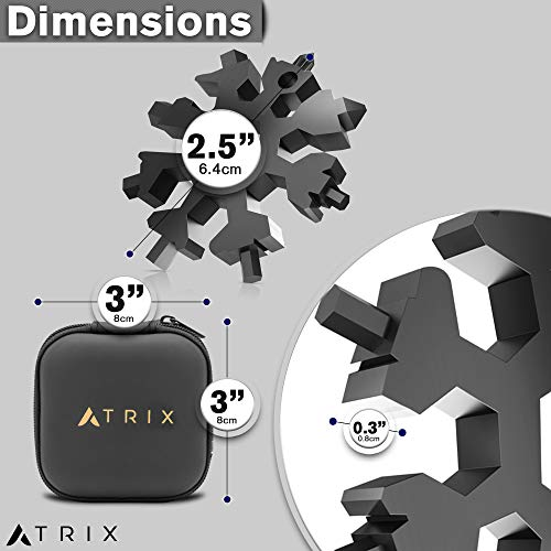 ATRIX Snowflake Multi Tool 18 in 1 Stainless Steel Portable Multi-Tool and Daily Tool for Outdoor Travel Camping Adventure (Black)