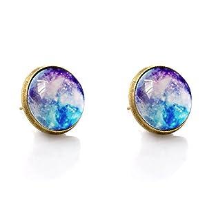1 par de anillos de tuerca unisex para niñas, aleación galvanizada y almohadón estrellado brillante para boda