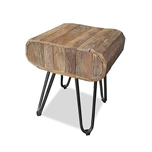 MÖBEL IDEAL Beistelltisch aus massivem Teak/Teakholz im rustikalen Design Tisch - 35 x 40 x 47 cm - Beistelltisch in Braun Massivholz