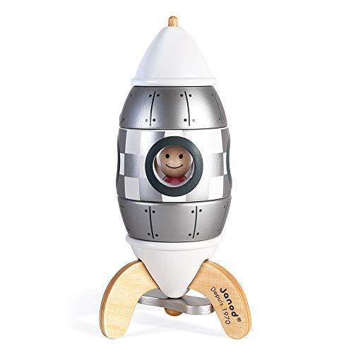 Janod- Kit de imanes Cohete de Madera para Montar 5piezas-16cm-Edición Especial 50 Juego de construcción magnética y manipulación-A Partir de 2años (JURATOYS J05221)