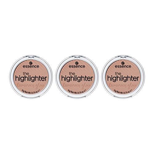 essence the highlighter, Nr. 01 mesmerizing, gold, strahlend, scheinend, vegan, Nanopartikel frei, entspricht unserem CLEAN BEAUTY Standard, 3er Pack (3 x 9g)