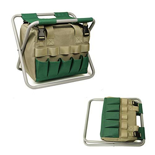 fuguzhu Gartenwerkzeug Hocker, Klapphocker mit Werkzeugtasche, Tragbarer Gartenhocker, Gartenwerkzeug Tasche, Hocker für Gartenarbeit