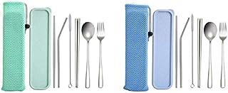 طقم أواني الطعام - تروية! مجموعة أدوات مائدة محمولة، مجموعة أدوات مائدة للسفر متينة من الفولاذ المقاوم للصدأ 304 قابلة لإع...
