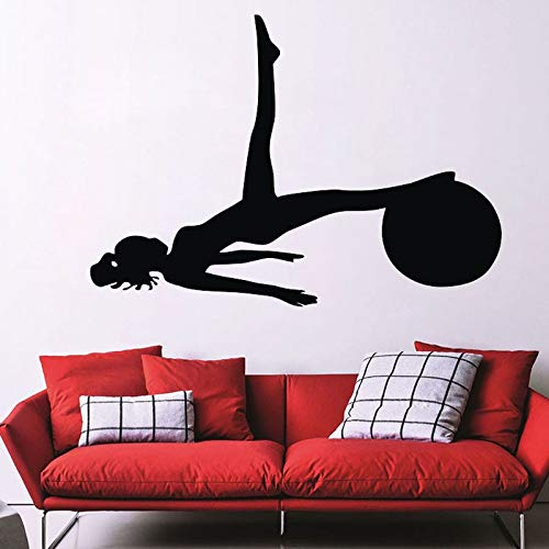 yaonuli Yoga Sports Gym Wandtattoo Abnehmbare Home Decoration Silhouette Vinyl Aufkleber 109X64cm