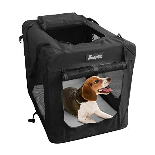 """JESPET Soft Dog Crates Kennel for Pets, 3 Door Soft Sided Folding Travel Pet Carrier with Straps and Fleece Mat for Dogs, Cats, Rabbits, Grey Blue Beige & Black (36"""" L x 24"""" W x 27"""" H, Black) Carriers Soft-Sided"""