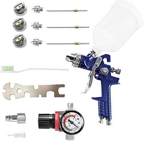 TELAM HVLP Pistola pulverizadora de alimentación por gravedad, kit de herramientas profesional...