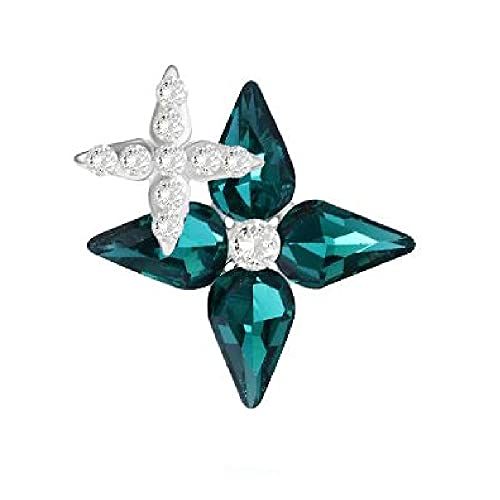 Brillabenny Aplicación flor flor flor piedra marrón para coser cristal strass decoración vestido bolso (verde esmeralda)