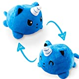 TeeTurtle | The Original Reversible Kittencorn Plushie | Patented Design | Blue | Show Your Mood Without Saying a Word!