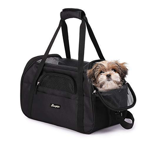 JESPET Soft Sided Pet Carrier Comfort for Airline Travel for Small Animals/Cats/Kitten/Puppy, Black, 17' x 9' x 11.5'