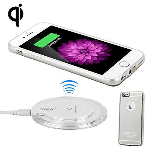 Antye Wireless Ladegerät, Qi Drahtlos Ladegerät Kit für iPhone 6/6S(4.7 Zoll)【Drahtlos Ladegerät Pad+ Wireless Charging Receiver für iPhone 6/6S】 (Silber/Weiß)