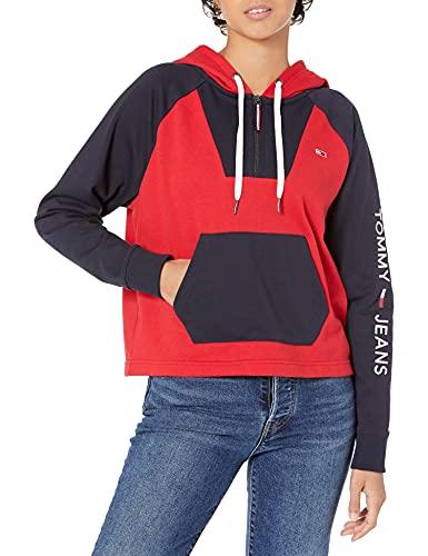 Tommy Hilfiger Damen Women's Hoodie Sweatshirt T-Shirt, Scarlet Multi, Mittel