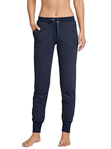Schiesser Damen Mix & Relax Jerseyhose lang Schlafanzughose, Blau (Nachtblau 804), 36